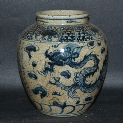 China Dynasty Old Antique Blue And White Porcelain Painting dragon big Pot Jars