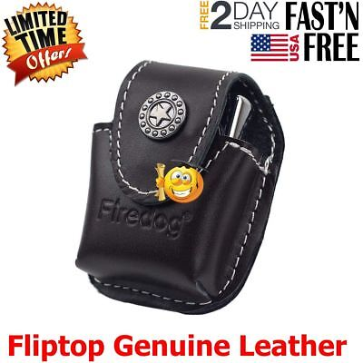 Firedog Fliptop Genuine Leather Lighter Pouch Holder Case with Metal Belt Clip