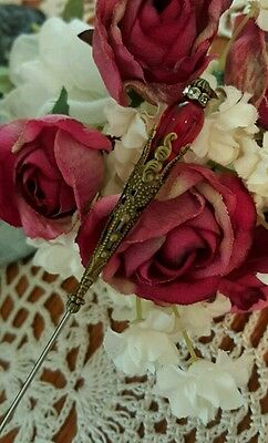Victorian Hat Pin Vintage Inspired Glass Beads & Antique Brass Fittings. Strong