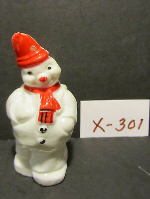 """Old 4"""" Plastic Vintage Snowman Candy Container Or Ornament - Mint Condition"""