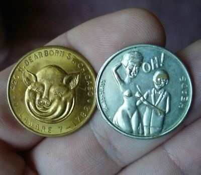 PIG BUTT FOOD Risque token comic coin & 420 N Dearborn ST. Chicago heads & Tails