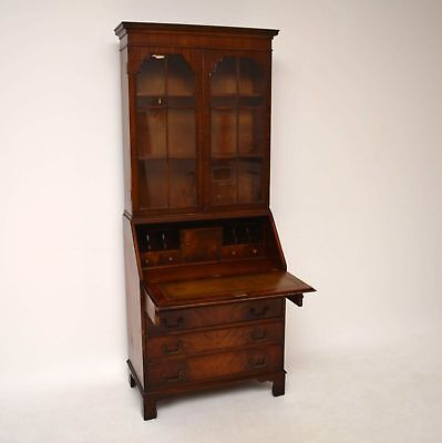 Antique Georgian Style Mahogany Bureau Bookcase