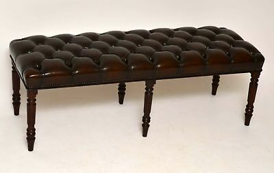 Antique Victorian Style Deep Buttoned Leather & Mahogany Stool