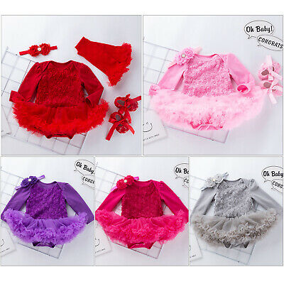 2/3/4PCS Newborn Baby Girls Kids Tutu Dress Headband Outfits Infant Clothes Set