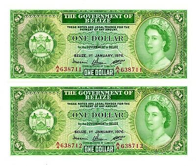 Belize ... P-33c ... 1 Dollar ... 1976 ... *Gem UNC* ... Consecutive Pair