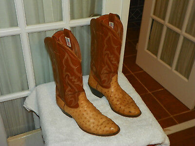 059fd23dfc9 NOCONA COGNAC FULL Quill Ostrich Leather Cowboy Boots Mens Size 9 D USA made