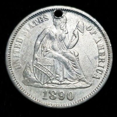 1890 Seated Liberty Silver Dime Engraved Love Token Coin Circul. & Holed SSDLT03