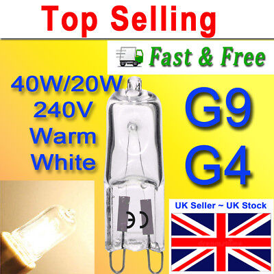 G9 Halogen Light Bulbs Clear Glass Capsule 240V 40W Watts Dimmable Long Life G4