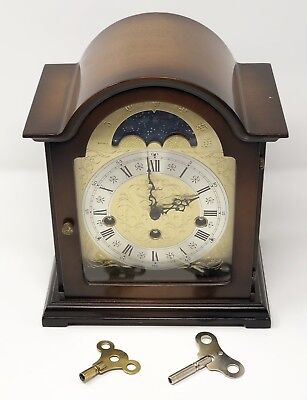 Vintage Woodford Mahogany Chiming Moving Moon Phase Mantle Clock with 2 keys