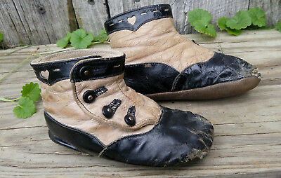 Antique Vintage Victorian Black & White Leather Button Baby Shoes w/ Hearts