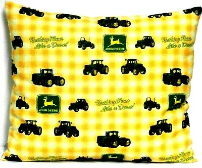 John Deere Tractors Toddler Pillow on Yellow Plaid 100%Cotton 7-34 New Handmade