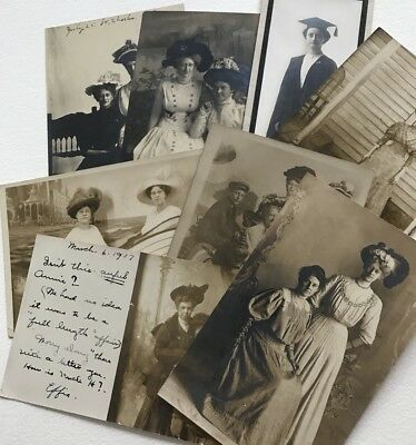 RPPC Postcards Women Hats Dresses Early 1907 Lot  8 Real Photograph Illinois