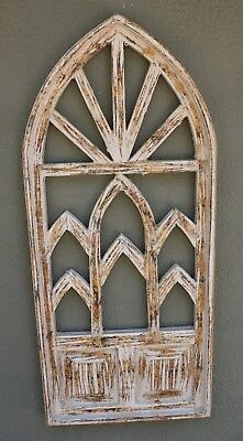 """Wooden Antique Style Church WINDOW Frame Primitive Wood Gothic 38 1/4"""" Shabby"""