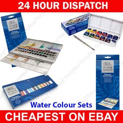 Winsor and Newton Cotman 24 Half Pan Watercolour Sets & Tubes - Full Range