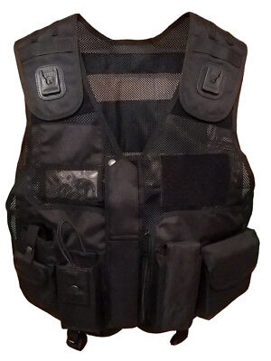 Black Tactical Patrol Vest for Security, Enforcement, Dog Handler, Tac Vest