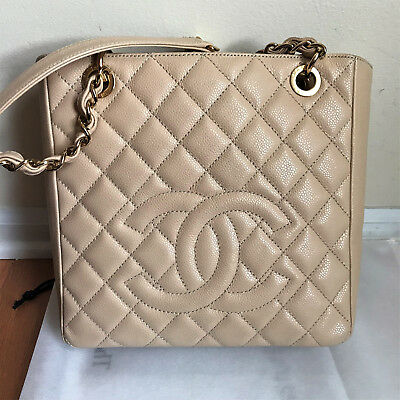 27c8932d6063 CHANEL IRIDESCENT BEIGE Quilted Caviar Leather Shopper Shoulder Tote ...