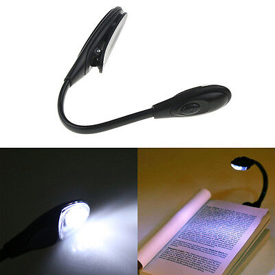 2018Balck Portable Travel LED Study Reading Light Book Night Lamp Clip Booklight