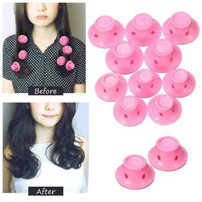 10pcs Magic DIY Soft Rubber Hair Curlers Silicone Rollers No Heat Styling Maker