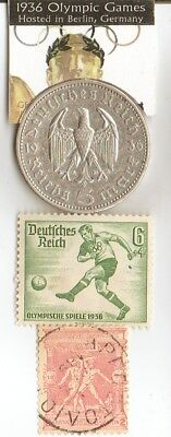*1896 and *1936- Olympic stamps and 1936 silver(.900%, 29 mm, 4016 oz)- 5 m coin