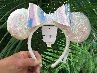 Disney Parks Disneyland Minnie Mouse Iridescent Sequined Ears Headband Adult NEW