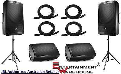 "2 x Pair JBL EON615  1000w, 15"" Speakers + 2 x Stands & Bag + 4 x 10mtr Cables"