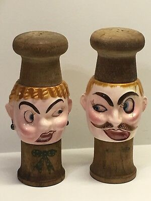 Vintage Fred Roberts Company Chefs Faces Wooden Salt and Pepper Shakers Japan