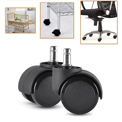 2Inch Office Chair Wheels Replacement Chair Caster for Hardwood Floors Carpet BK