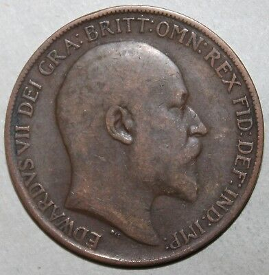 British Large Penny Coin 1909 - KM# 794.2  Great Britain - King Edward VII One 1