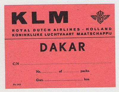 Klm Royal Dutch Airlines Holland To Dakar W. Africa Airline Luggage Label 1950's