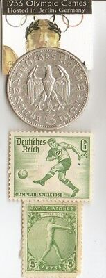 *1906 and *1936- Olympic stamps and 1936 silver(.900%, 29 mm, 4016 oz)- 5 m coin