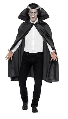 Adult Fabric Cape With Stand Up Collar Vampire Halloween Fancy Dress Costume
