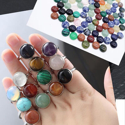 1/5/10Pcs Round Shape Crystal Stone Flatback Loose Beads Rings Jewelry Making