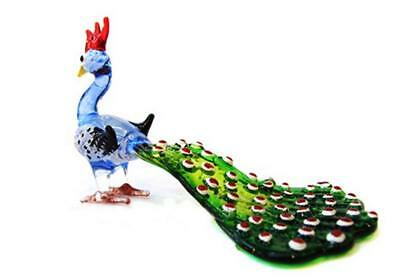 Lampwork COLLECTIBLE MINIATURE HAND BLOWN Art GLASS Peacock Long Tail (Blue)