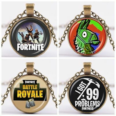 Fortnite Battle Royale Necklace Pendant Gift Cool KeyChain Key Ring chain AU SKY