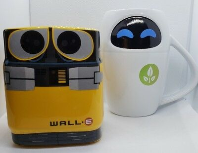 Disney Store WALL-E & EVE MUG 16 oz Coffee Cup PIXAR Wall-E Robot FREE SHIPPING