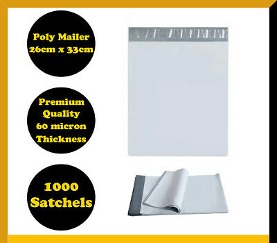 1000 Poly Mailer 255x330mm Courier Plastic Bag Self Sealing Mailing Satchel