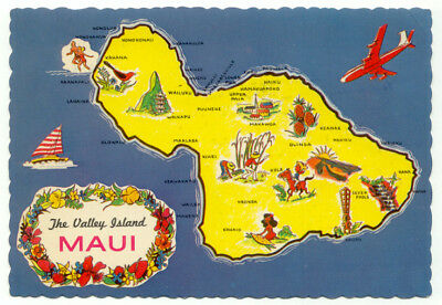 Maui Hawaii Vintage Map Postcard