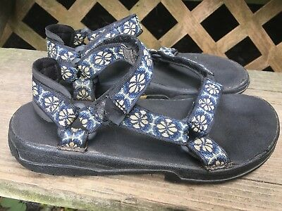 df0fb4abb4248f Teva Womens Hurricane Water Sport Hiking Sandals Size 7 Blue Flowers  Slingback