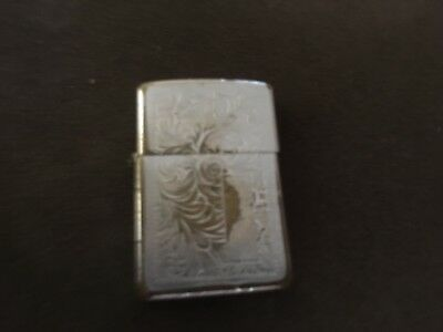 Vintage Early1990's Zippo Lighter Western Engraved Blank Monogram VIII Well Used