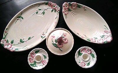 Vintage Maling Pottery-Dressing Table Set -6584- Blossom -Shabby Chic- 5 Pieces