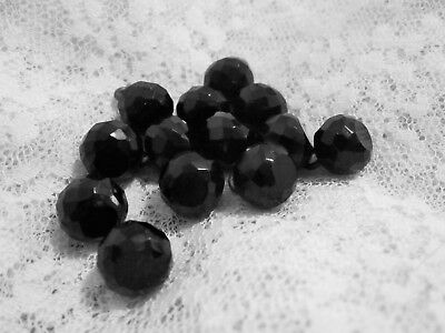 13 Antique Vintage Victorian Round Faceted Jet Black Glass Buttons Flat Tops
