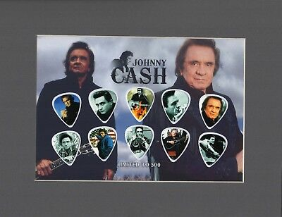 Johnny Cash Matted Picture Guitar Pick Set Limited to 500 I Walk The Line