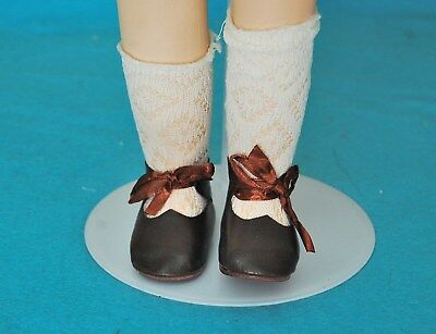 """Antique Bisque Style Vintage Brown Leather Tie 2 12"""" Large Shoes & Socks"""