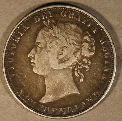 1895 Newfoundland 50 Cents Silver Victoria Circulated   ** FREE U.S. SHIPPING**