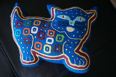 PILLOW Cat Shaped Blue Multi-Color Squares Dots Small Decorative Textured Night