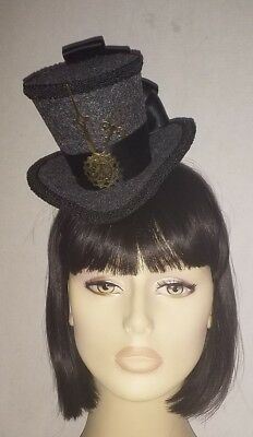 Victorian Riding Day Hat Mini Steampunk Top Fascinator Mad Hatter