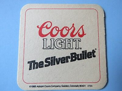 Beer Bar Coaster ~ Coors Light ~ The Silver Bullet from 1986 ~ Golden, Colorado