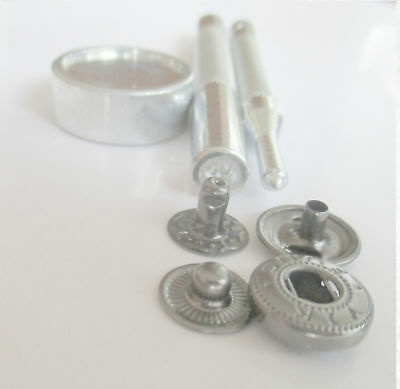Button Glove Snap fasteners 12mm silver w hand setter