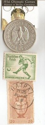 *greek-1896-Olympic stamps and 1936 silver(.900%, 29 mm, 4016 oz)- 5 m coin