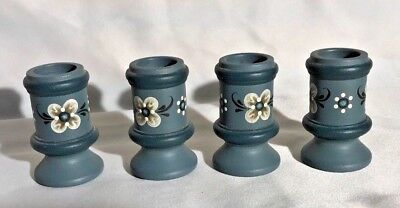 ROSEMALING Blue Wooden Small CANDLE HOLDERS Set of 4 NORWAY Scandinavian Art